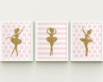 Ballerina nursery printable art set, girl room ballerina art, baby girl ballerina wall art, ballerina wall decor, pink, gold, Download