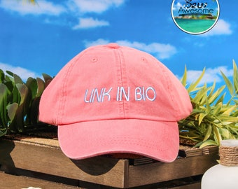 Link in Bio Embroidered Baseball Hat, Link In Bio Dad Hat, Cute Gift, Choose Your Own Color Hat, Customized Hat, Low Profile Hat, Dad Hat