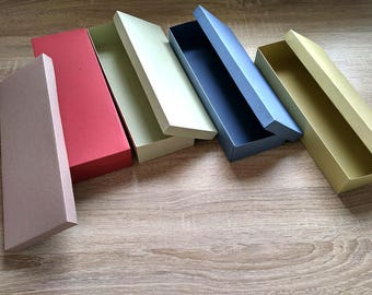 Gift box with lid, Packaging box, Box with ecological cardboard, long gift box,  different colors, earth colors,  box, cardboard gift box,