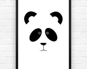 Panda Print, Nursery Print, Kids Bedroom Print, Black and White, Animal Print, Cartoon Print, Childs Print, Zoo Print