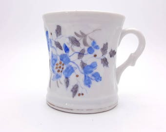 Vintage Blue Floral Shaving Cup Scuttle Mustache Beard Grooming Porcelain Mug Two Section Soap Holder Gift for Dad Father's Day Men