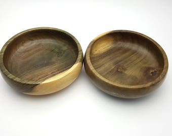 Set of Two Jamaican Blue Mahoe Wood Salad Bowls Vintage Jamaica Industrial Decor Dinnerware Serving Dishes Two Tone  Grain Turned Wooden