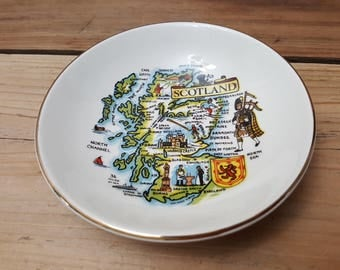 Vintage Scotland Decorative Trinket Dish Bowl Country Map Weatherby Royal Falcon Gift Ware Trip Summer Vacation Souvenir Holiday Gift