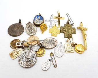 Vintage Lot of Religious Pendants Charms and Medals / Christian Catholic Collectibles / Prayer Cross Crucifix Jesus Pope Virgin Mary