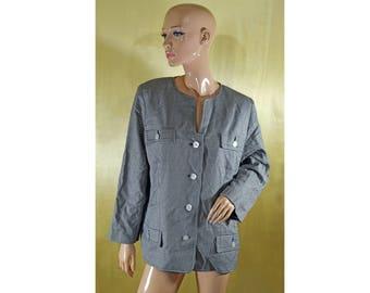 Vintage Alexander ® Creation de Luxe women blazer black and white MERINO and SILK pearl buttons Shepherd's Check