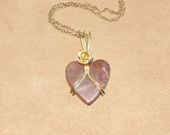336 Double harness gold heart-shaped with gold rose