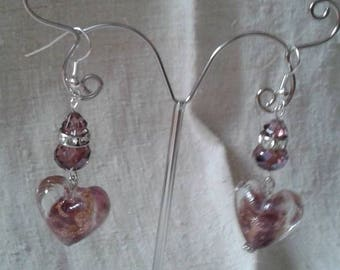 "Earrings ""big purple heart"""