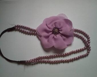 fabric flower headband and purple beads