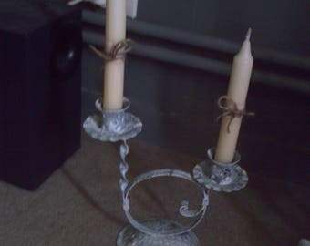 set of two white patina candle holders