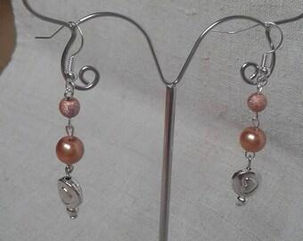 heart and orange beads earrings
