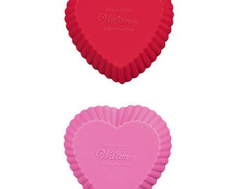12 Silicone Heart-Shaped Cupcake Liners Baking Cups by Wilton for Baking & Soap Making