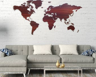 Wooden worldmap PADOUK wood - wall decoration - 6mm thick - 200cm x 100cm - 15mm wall distance