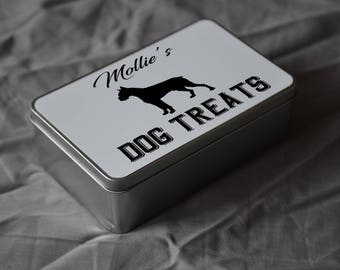 PET Lover Gift. Personalised Boxer Dog Treat Tin. Personalise With Your Pets Name