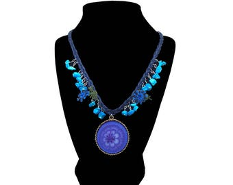Blue Lotus – Art on Glass Necklace – one size fits all