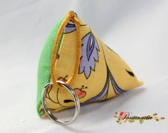Cherry fabric Keyring, handmade