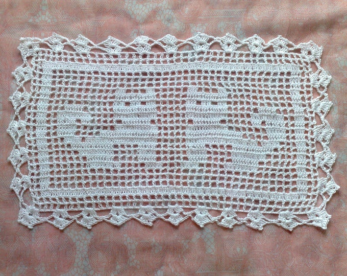 Featured listing image: Coffee table crochet cover with cat motif in natural white cotton