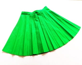 Green vinTage 70s pleated skirt siZe xs S of 70s skirt pleated skirt fashion