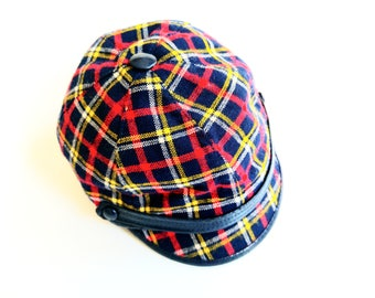 Boys vinTage Plaid of boys CaP Retro hippie oldschool 3-4Y Hat Cap