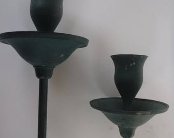 India teal Green Brass Candlestick Holders Set of 2