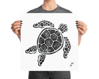 Minimal Sea Turtle Poster, 10x10, 12x12, 16x16, 18x18, Boho Decor, Abstract Ink, Square B&W Print