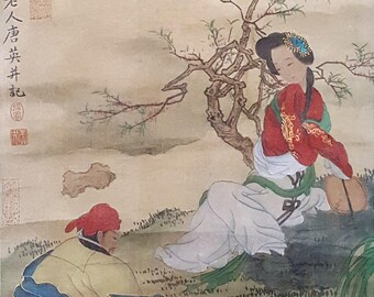 An original Chinese watercolor scroll musicians
