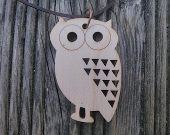 Wooden owl necklace, lightweight, wooden jewellery