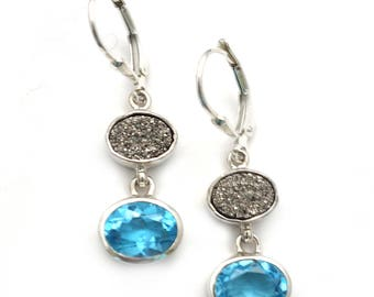 Striking Swiss Blue Topaz and Platinum Coated Druzy Earrings Handmade in Sterling Silver with Secure Lever Backs