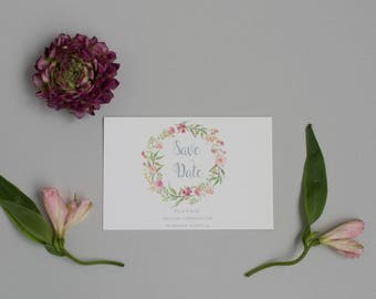 Rustic Floral Wreath Save the Date - Spring Save the Date - Wedding Save the Date Card