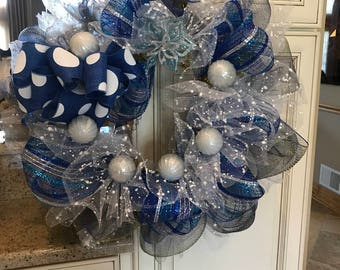Silver and Blue Deco Mesh Wreath