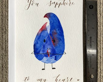 You Sapphire to My Heart - September Birthstone Pun Card