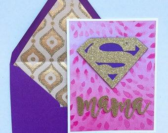 Super Mom Card // Super Mama // Super Sister // Super Grandma // Custom name available // Greeting card, Handmade to order
