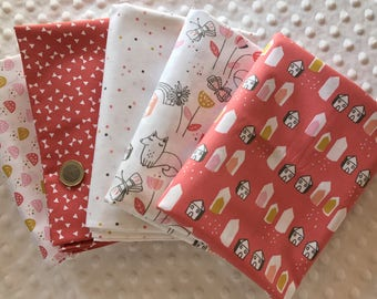 LOT 5 COUPONS fabric patchwork child salmon and white 30 x 35 cm