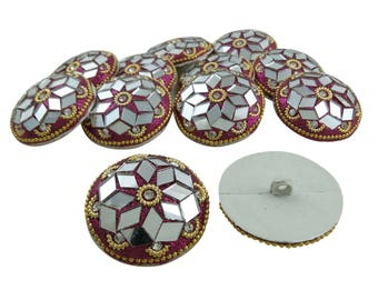 Magenta Round Shape Buttons, Glitter Buttons, Sewing Clothing Buttons, 1 Dozen Mirror Art Buttons, Decorative Indian Buttons, BTN294B