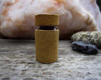 Ready to Bead Medicine Bottle 20 ml Amber Glass with Buckskin
