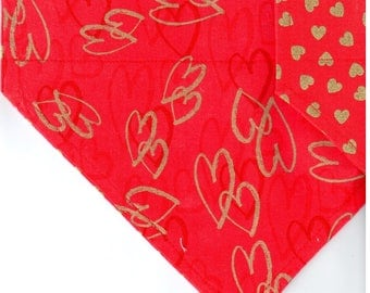 Metallic Hearts on Red | Valentines Dog Bandana | Puppy Bandana | Pet Bandana | Over the Collar Bandana
