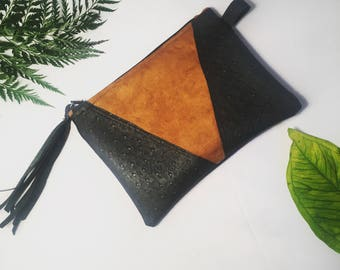 Suede and Ostrich leather clutch purse