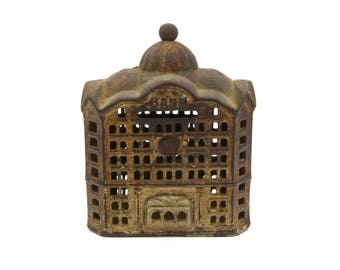 Vintage Coin Bank, Antique 1900 Decor, Old Cast Iron, AC Williams Penny Bank, Cast Iron Figurine, Domed Bank Building, Architecture Figurine