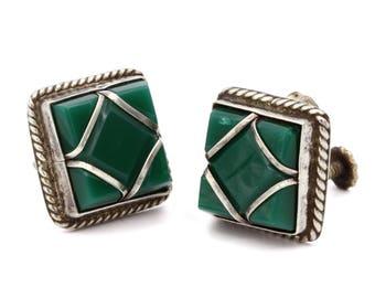 Square Green Onyx Earrings, Southwestern Jewelry, Antique 40s Earrings, Mexican Jewelry, Pre Eagle Screw Back Earrings, 925 Sterling Silver