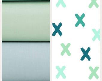 X's Shades of Blue and Greens, Swiss Cross Crib Blanket,  Baby Boy Nursery Blanket