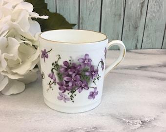 Hammersley Victorian Vilolets Tea Coffee Cup Mug Purple Flowers Blossoms Vintage Fine Bone China Porcelain Made in England Gold Trim