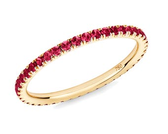Ruby Stacking Full Eternity Ring in 18ct Yellow Gold