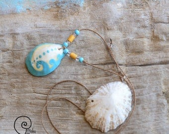 Surf style shell handpainted wave symbol necklace