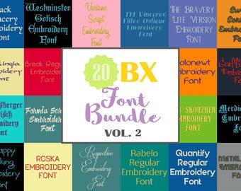 Machine Embroidery Fonts - 20 BX Font Bundle - Volume 2