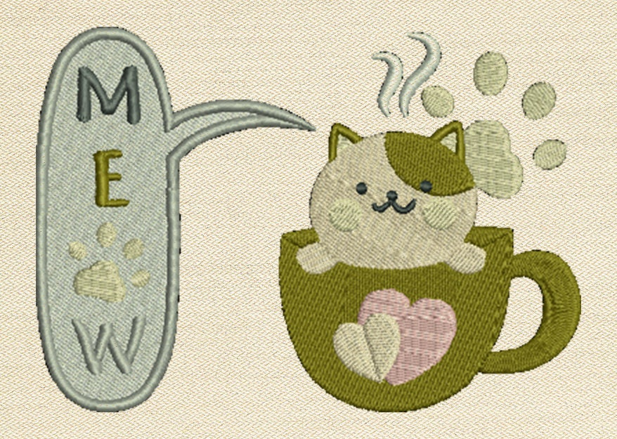 In the hoop machine embroidery design meow ith mug rug