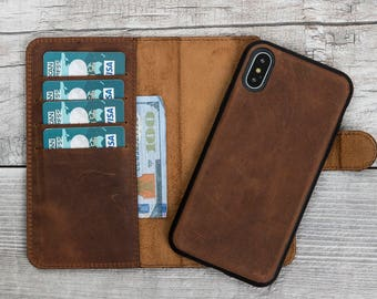 Antic Brown iPhone X Wallet Case, Detachable iPhone X Case, Leather iPhone X Wallet Case, iPhone X case leather