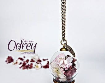 CLEARANCE, botanical pendant, natural, cherry blossom, Globe glass flower, leaf, Decoration, rear view mirror charm