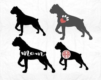 Boxer svg, Dog svg, Boxer Dog svg, Monogram svg, Dog mom svg, SVG Files, Cricut, Cameo, Cut file, Files, Clipart, Svg, DXF, Png, Pdf, Eps
