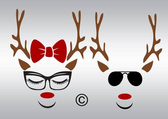 Reindeer Face With Glasses Svg Clipart Cut Files Silhouette