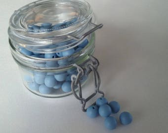the set of 5 round beads blue powder 100% silicone with 12mm for making sweet...
