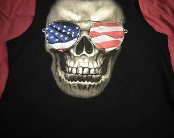 Brand New muscle Skull shirt with American Flag sunglasses.